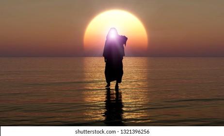 Jesus walks on water, Miracles of Jesus Christ,The prophet of God, Jesus coming  from heaven in the apocalypse evening, 3D Rendering, 3D Illustration