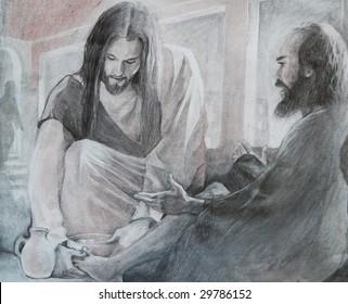 Jesus washing Peters feet