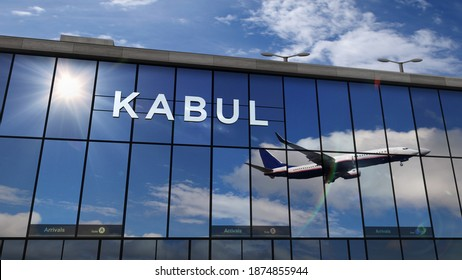 Jet aircraft landing at Kabul, Afghanistan 3D rendering illustration. Arrival in the city with the glass airport terminal and reflection of the plane. Travel, business, tourism and transport concept.