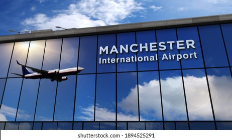 Jet aircraft landing at Manchester, England, GB 3D rendering illustration. Arrival in the city. Glass airport terminal with reflection of the plane. Travel, business, tourism and transport concept.