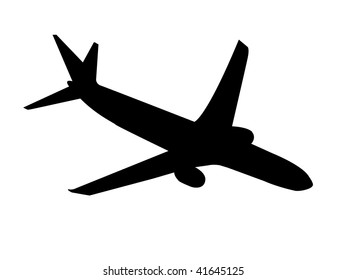 Jet Airplane Silhouette isolated on a white background.