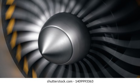 Jet engine, close-up view blades. Engine blades at the ends painted orange. Jet engine blades in motion. Part of the airplane. 3D illustration