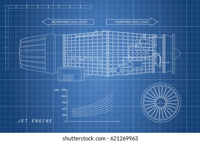 Jet engine in a outline style. Industrial vector blueprint. Part of the aircraft. Side view.