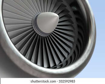 Jet engine, turbine blades of airplane, 3d illustration
