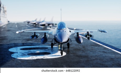 Jet f16 , fighter on aircraft carrier in sea, ocean . War and weapon concept. 3d rendering.