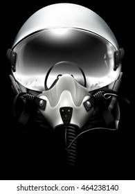 Jet fighter pilot helmet on black background. Monochrome drawing.