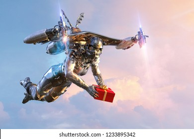 Jetpack rocket pilot or robot holding wrapped gift box in flight. Future technology christmas or new year greeting card jet pack concept. Clipping path included. 3D illustration.