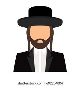 Jew orthodox icon. Jewish orthodox rabbi avatar flat