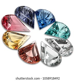 Jewel colors on white background. Pear-shaped colorful gemstones. 3D rendering illustration