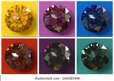 Jewel tones. Multi colored gemstones , jewel color swatches. 3D illustration