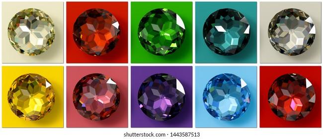 Jewel tones. Ten multi colored gemstones , jewel color swatches. 3D illustration