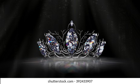 Jeweled Forest Crown Here the Crown is in silver with sparkling diamonds... Original design by the artist. 3d Render.