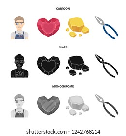 Jeweler, pliers, gold ore, garnet in the form of heart. Precious minerals and jeweler set collection icons in cartoon,black,monochrome style bitmap symbol stock illustration web.