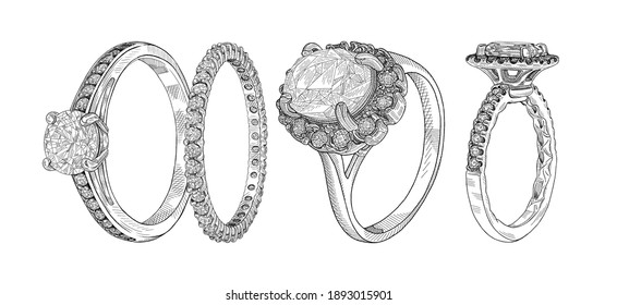Jewellery. Hand drawn illustration of different wedding jewelry rings isolated on white background.Sketch of 4 rings in one drawing. Advertising material