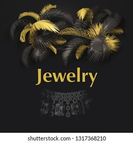 Jewelry- banner with golden and black tropical leaves on dark background. Exotic botanical design for Jewelry business , poster, web page, packaging. Tropical leaves 3d render.