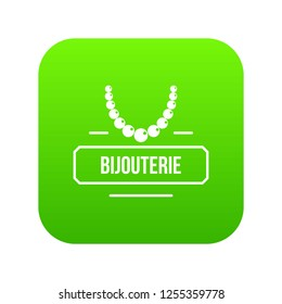 Jewelry bijouterie icon green isolated on white background