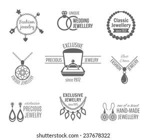 Jewelry black label set of unique classic vintage jewellery isolated  illustration