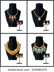 Jewelry collection necklaces with precious stones on black mannequin and earrings expensive accessory items isolated. golden chains pendant raster