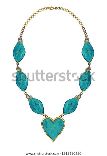 Jewelry Design Art Turquoise Stone Necklace Stock Illustration