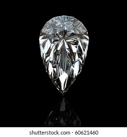 Jewelry gems on black background. Pear