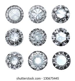 Jewelry gems roung shape on white background