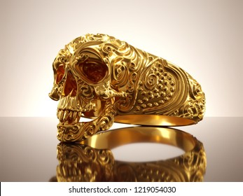 Jewelry gold skull ring or bracelet with diamond and red gems. Antiques fingers ring from pirate treasure or hoard may be magic vampire artifact. Luxury bijouterie band on isolated. 3D illustration