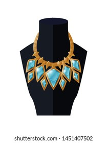 Jewelry necklace precious blue topaz stone on black mannequin expensive accessory item isolated white. gold chain with aquamarines raster illustration