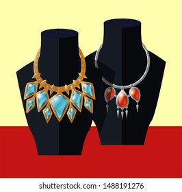 Jewelry necklaces set precious blue topaz and ruby stones on black mannequin expensive accessory item isolated. gold chain with aquamarines raster