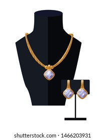 Jewelry set golden necklace and earrings on black mannequin, expensive accessory item isolated on white. Gold rich chain platinum collection raster