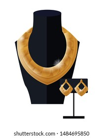 Jewelry set golden necklace and earrings on black mannequin expensive accessory item isolated white. gold rich chain platinum collection raster