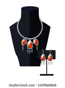 Jewelry set necklace with precious red stones on black mannequin and earrings expensive accessory item isolated white. silver chain ruby pendant raster