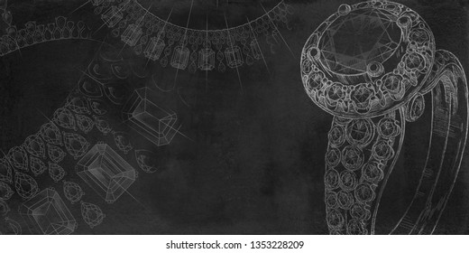 Jewelry theme. Black background with hand-painted jewelery. Textural background for creativity.
