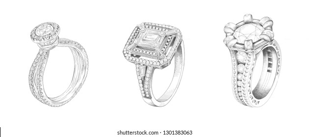 Jewelry theme. Pencil drawing of rings with precious stones on a white background. Isolated sketch. White background with hand-painted rings with diamonds. Sketch of 3 rings in one drawing.