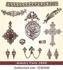 """Jewelry - Vintage engraved illustration - """"La mode illustree"""" by Firmin-Didot et Cie in 1882 France"""