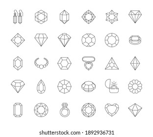 Jewels collection. Diamonds gems rings shiny luxury objects gifts outline symbols