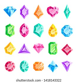 Jewels gems. Jewelry diamond, jewel heart crystal gem and diamonds gemstone. Game crystalization healing, jewels brilliant gems. Jeweller isolated  illustration icons set