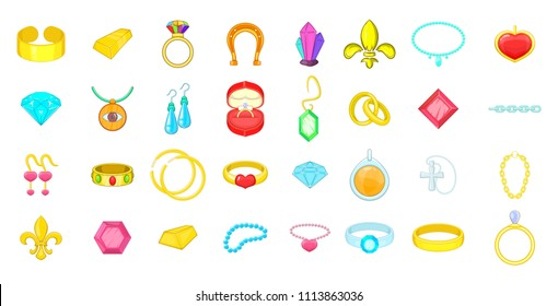 Jewerly icon set. Cartoon set of jewerly icons for your web design isolated on white background