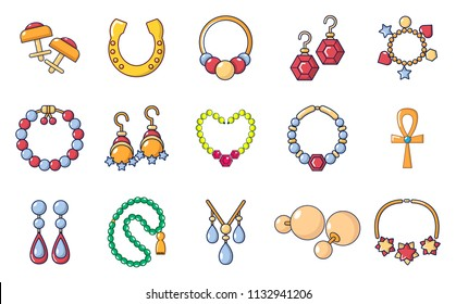 Jewerly icon set. Cartoon set of jewerly icons for web design isolated on white background