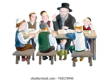 Jewish children with a rabbi