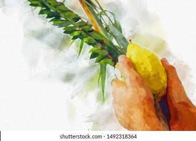 Jewish festival of Sukkot. Jewish man holding traditional symbols (The four species): Etrog, lulav, hadas, arava