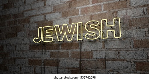 JEWISH - Glowing Neon Sign on stonework wall - 3D rendered royalty free stock illustration.  Can be used for online banner ads and direct mailers.