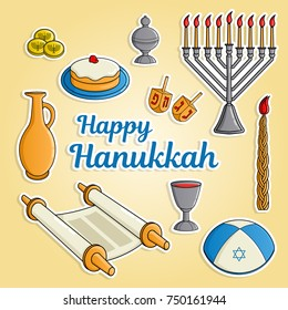 Jewish holiday Hanukkah greeting card. Traditional menora, candle, cup of wine, hat, jug of oil, dreidel with Hebrew letters, Torah scroll, incense box. Raster illustration.