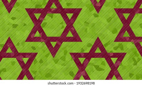 Jewish holidays with a festive 3D illustration of the Star of David - the symbol of Judaism on a green background for the decoration of beautiful events, parties and greeting cards for the holidays