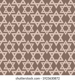 Jewish party with a festive print of Magen David - the symbol of Judaism, suitable for girls' 12th birthday, holiday greeting cards, beautiful seamless decoration for happy events and celebrations