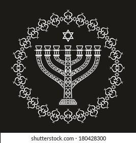 Jewish religious holiday background with menorah - illustration