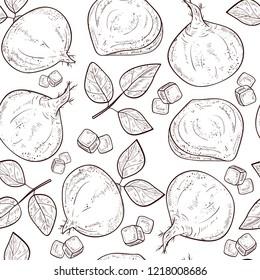 Jicama. Vegetable. Root, sheet. Sketch. Seamless, background, texture, wallpaper. Monophonic