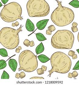Jicama. Vegetable. Root, sheet. Sketch. Color. Seamless, background, texture, wallpaper.