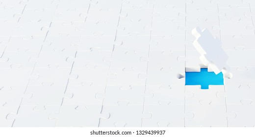 Jigsaw abstract background, business and teamwork concepts, 3d rendering