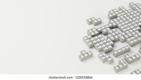 Jigsaw domino with people, infinite pieces; original 3d rendering