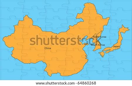 Jigsaw map china korea japan stock illustration 64860268 shutterstock jigsaw map of china korea and japan gumiabroncs Choice Image